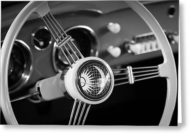 Ghia Greeting Cards - 1956 Volkswagen VW Karmann Ghia Coupe Steering Wheel Emblem Greeting Card by Jill Reger