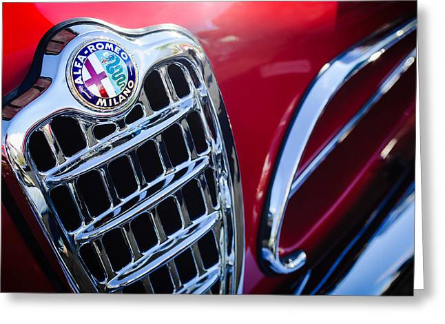 Sprinting Greeting Cards - 1957 Alfa-Romeo 1900C Super Sprint Grille Emblem Greeting Card by Jill Reger
