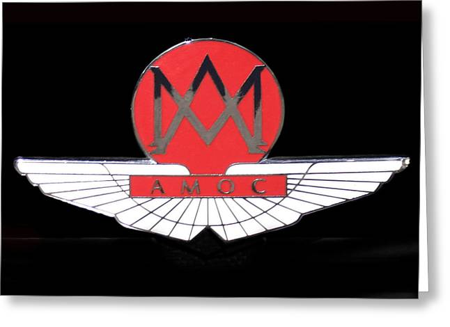 Valuable Greeting Cards - 1957 Aston Martin Badge Logo Greeting Card by Jack Pumphrey