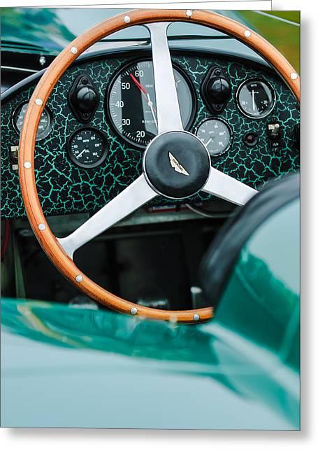 Steering Greeting Cards - 1957 Aston Martin DBR2 Steering Wheel Greeting Card by Jill Reger