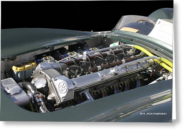 Paint Photograph Greeting Cards - 1957 Aston Martin Engine Left Greeting Card by Jack Pumphrey