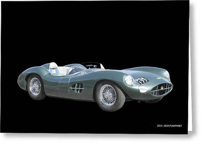 Paint Photograph Greeting Cards - 1957 Aston Martin Front Greeting Card by Jack Pumphrey
