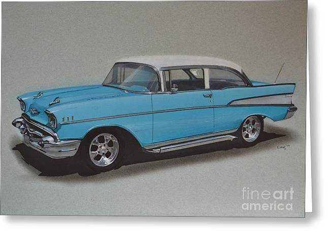 Exhaust Drawings Greeting Cards - 1957 Bel Air Greeting Card by Paul Kuras
