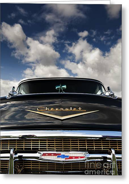 Custom Grill Greeting Cards - 1957 Black Chevrolet Bel Air  Greeting Card by Tim Gainey