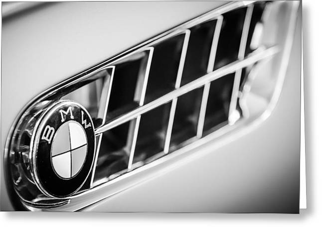 Famous Photographer Greeting Cards - 1957 BMW 507 Roadster Emblem -1591bw Greeting Card by Jill Reger