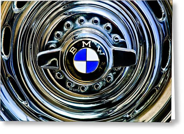 Bmw Emblem Greeting Cards - 1957 BMW Wheel Emblem Greeting Card by Jill Reger