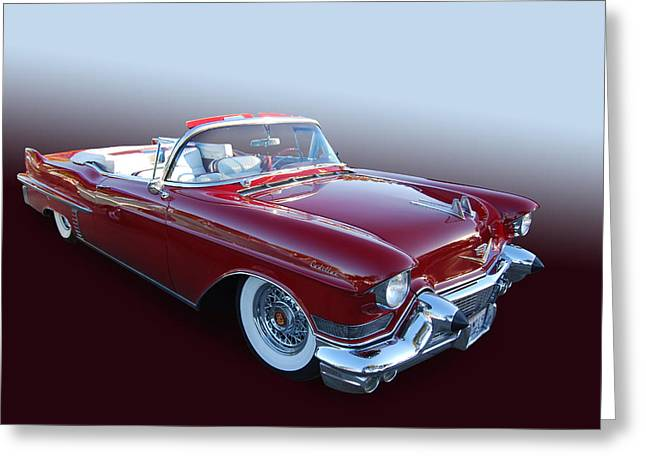 Cruisin For A Cure Greeting Cards - 1957 Cadillac Convertible Greeting Card by Bill Dutting