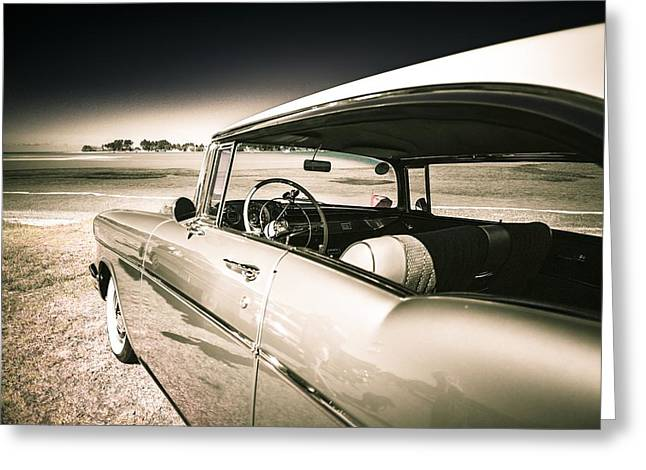 Custom Automobile Greeting Cards - 1957 Chev Bel Air Greeting Card by motography aka Phil Clark