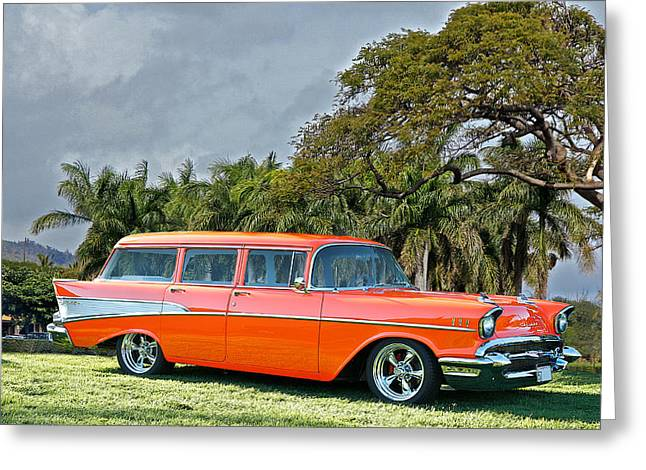 Station Wagon Greeting Cards - 1957 Chevrolet Bel Air Beach Wagon Greeting Card by Dave Koontz
