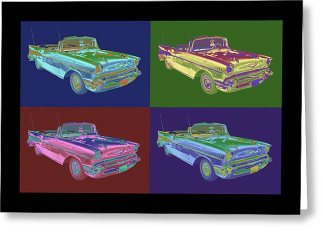 Eyebrow Greeting Cards - 1957 Chevrolet Bel Air Convertible Pop Art Greeting Card by Keith Webber Jr