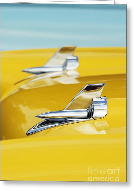 Tim Greeting Cards - 1957 Chevrolet Bel Air Hood Rockets Greeting Card by Tim Gainey