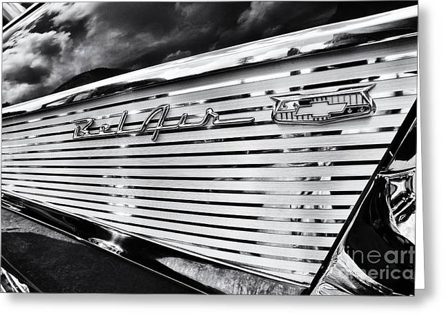 Custom Automobile Greeting Cards - 1957 Chevrolet Bel Air Monochrome Greeting Card by Tim Gainey