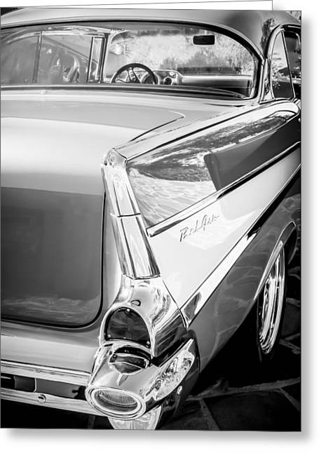 1957 Chevrolet Belair Coupe Tail Fin -019bw Greeting Card by Jill Reger