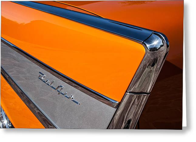 1957 Chevrolet Belair Rear Emblem -037c Greeting Card by Jill Reger