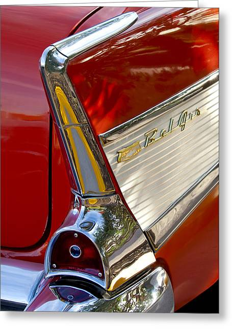 Car Photography Greeting Cards - 1957 Chevrolet Belair Taillight Greeting Card by Jill Reger