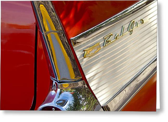 1957 Chevrolet Belair Taillight Greeting Card by Jill Reger
