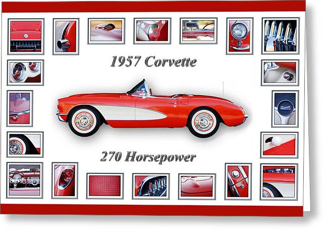 Montage Greeting Cards - 1957 Chevrolet Corvette Art Greeting Card by Jill Reger