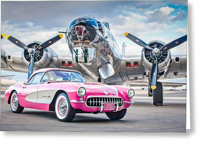 1957 Corvette Greeting Cards - 1957 Chevrolet Corvette B-17 Bomber -0168p Greeting Card by Jill Reger