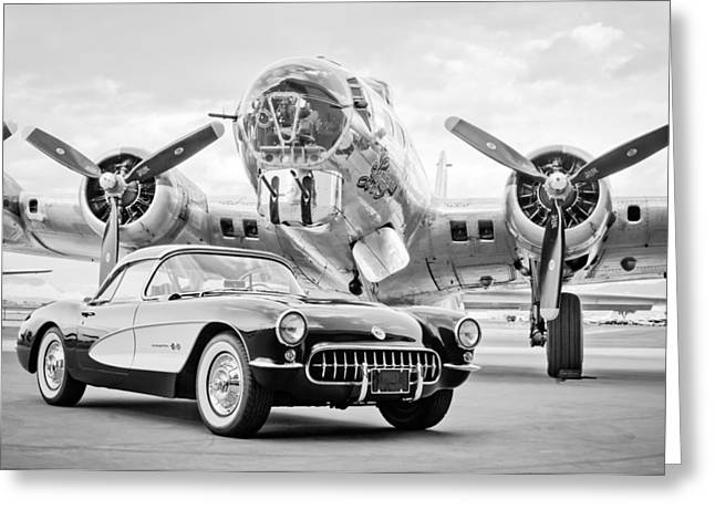 1957 Corvette Greeting Cards - 1957 Chevrolet Corvette - B 17 Bomber Greeting Card by Jill Reger