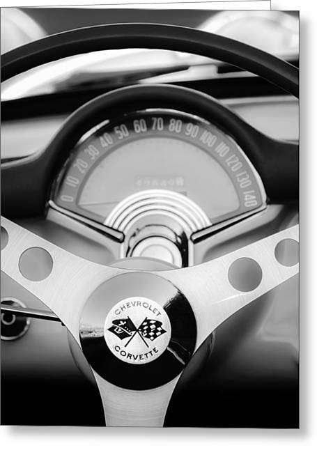 Car Part Greeting Cards - 1957 Chevrolet Corvette Convertible Steering Wheel 2 Greeting Card by Jill Reger