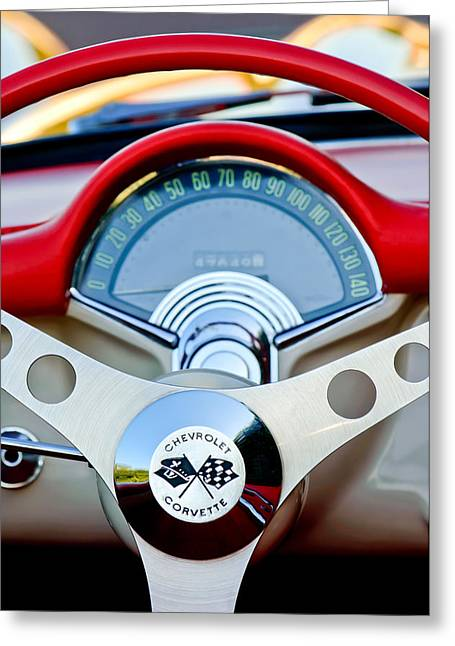 Steering Wheel Greeting Cards - 1957 Chevrolet Corvette Convertible Steering Wheel Greeting Card by Jill Reger