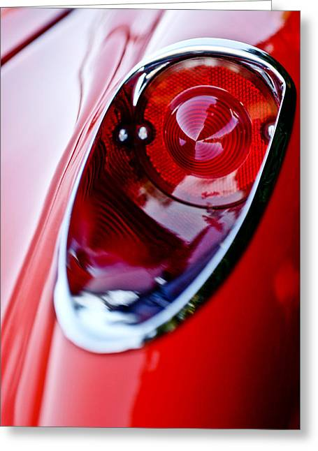 Car Details Greeting Cards - 1957 Chevrolet Corvette Convertible Taillight Greeting Card by Jill Reger