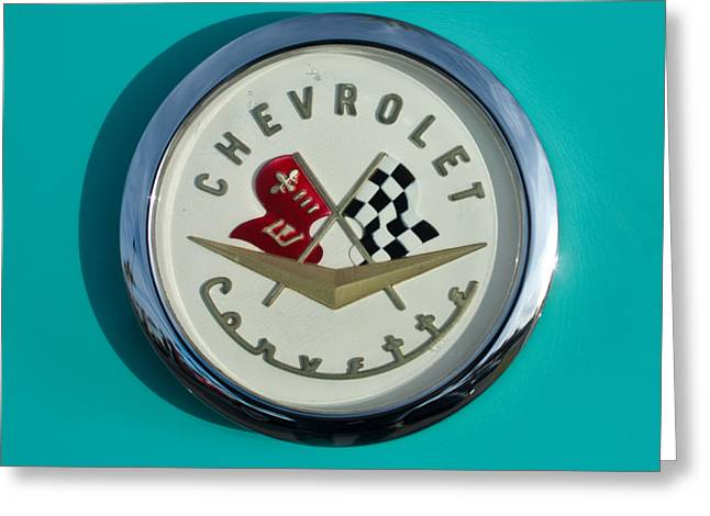 Famous Photographers Greeting Cards - 1957 Chevrolet Corvette Emblem Greeting Card by Jill Reger