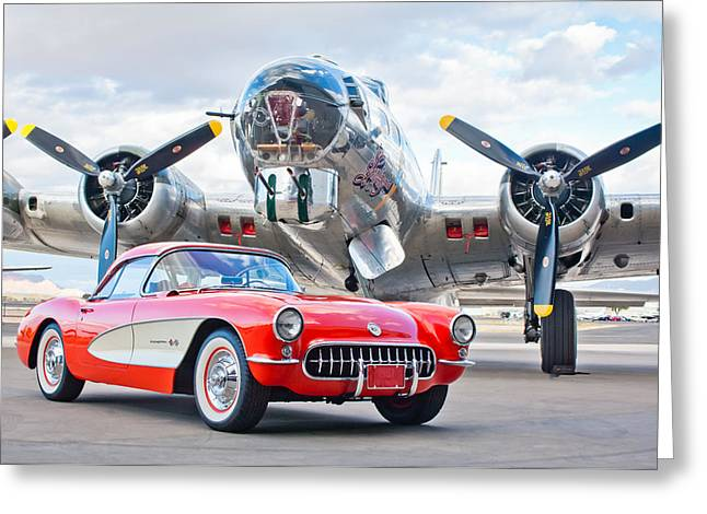 Vehicle Greeting Cards - 1957 Chevrolet Corvette Greeting Card by Jill Reger