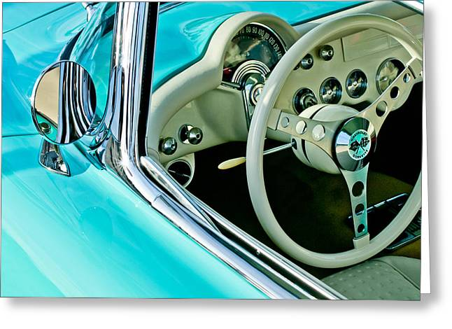 Famous Photographers Greeting Cards - 1957 Chevrolet Corvette Steering Wheel Emblem Greeting Card by Jill Reger