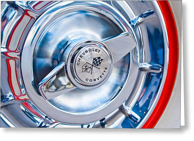 1957 Corvette Greeting Cards - 1957 Chevrolet Corvette Wheel 3 Greeting Card by Jill Reger