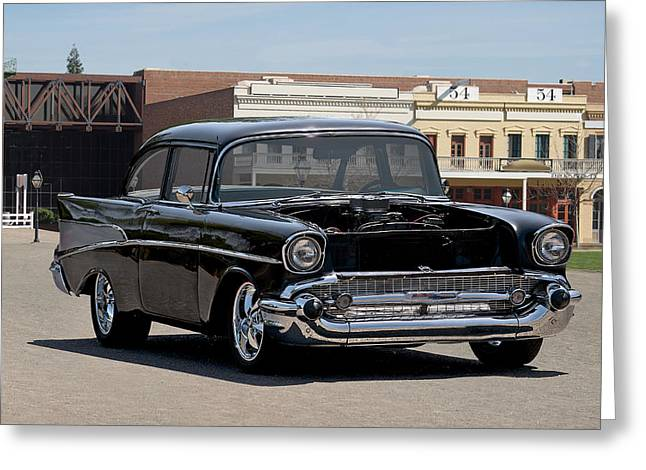 Slam Photographs Greeting Cards - 1957 Chevrolet Coupe Greeting Card by Dave Koontz