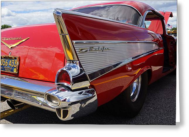 Shows Pyrography Greeting Cards - 1957  Chevrolet  Greeting Card by Ernest Green