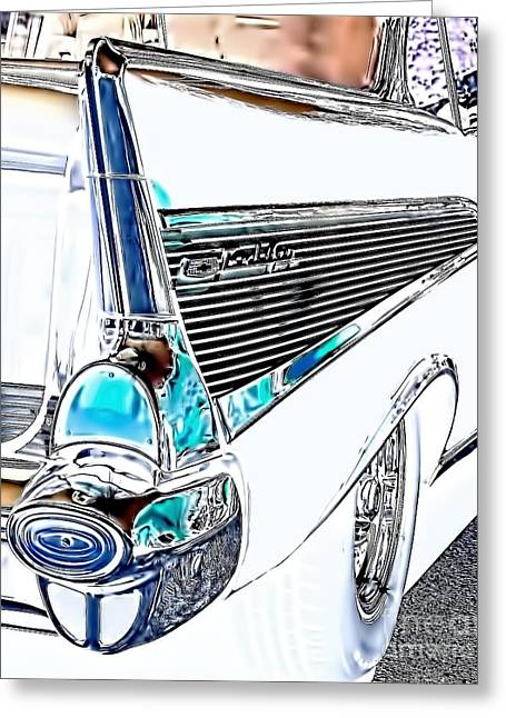Classic Cars Greeting Cards - 1957 Chevrolet Bel Air Art White Greeting Card by Lesa Fine
