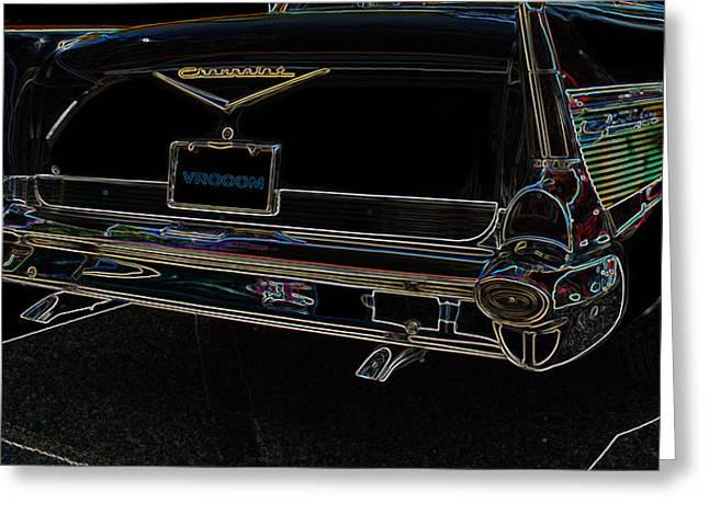 1957 Chevrolet Rear View Art Black_varooom Tag Greeting Card by Lesa Fine