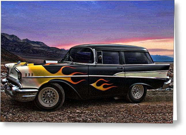 Station Wagon Greeting Cards - 1957 Chevrolet Shorty Wagon Greeting Card by Tim McCullough