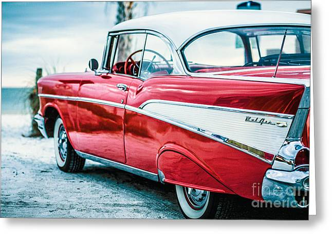 Sofa Size Greeting Cards - 1957 Chevy Bel Air Greeting Card by Edward Fielding