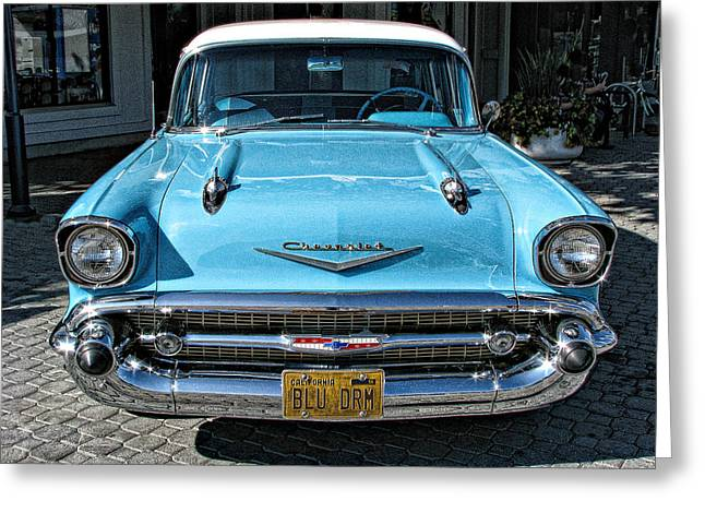 1957 Chevy Bel Air In Turquoise Greeting Card by Samuel Sheats