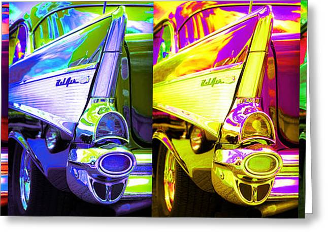 Glass Wall Greeting Cards - 1957 Chevy Bel Air Loud Pop Greeting Card by Gordon Dean II