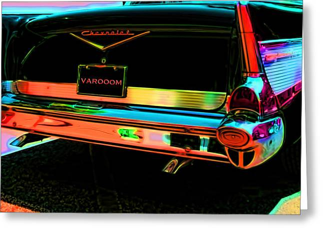 Auto Greeting Cards - 1957 Chevy Bel Air -Red Varooom Greeting Card by Lesa Fine