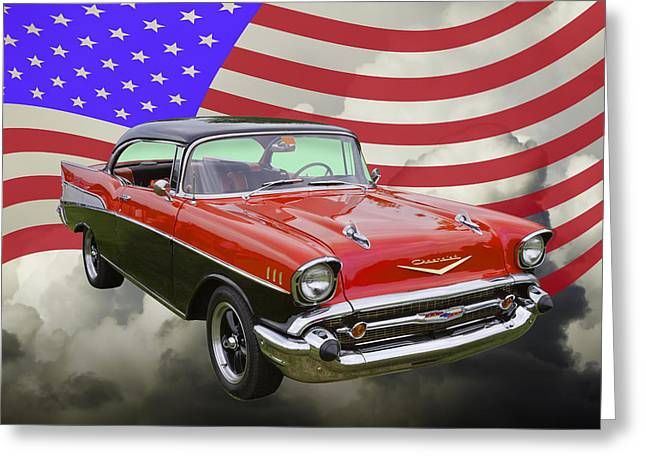 Red White And Blue Greeting Cards - 1957 Chevy Belair And American Flag Greeting Card by Keith Webber Jr