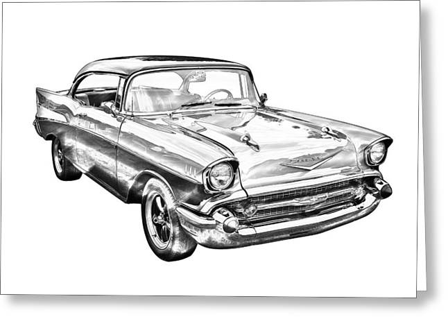 Restored Greeting Cards - 1957 Chevy Bel Air Illustration Greeting Card by Keith Webber Jr