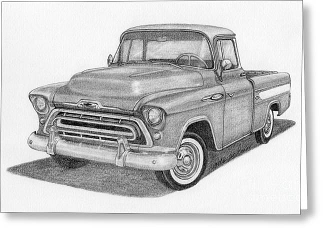 Classic Pickup Drawings Greeting Cards - 1957 Chevy Cameo Pickup Truck Greeting Card by Rita Palmer