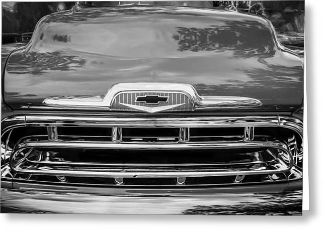 Recently Sold -  - Old Street Greeting Cards - 1957 Chevy Pick Up Truck 3100 Series Painted BW    Greeting Card by Rich Franco
