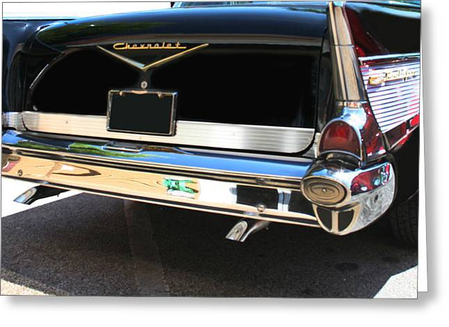 Vehicle Greeting Cards - 1957 Chevy Rear View Car Art Greeting Card by Lesa Fine