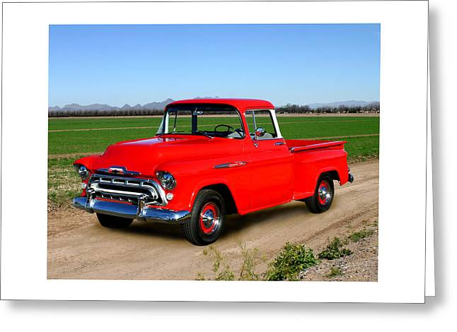 Photographs With Red. Greeting Cards - 1957 Chevrolet 3100 Pick Up Truck Greeting Card by Jack Pumphrey