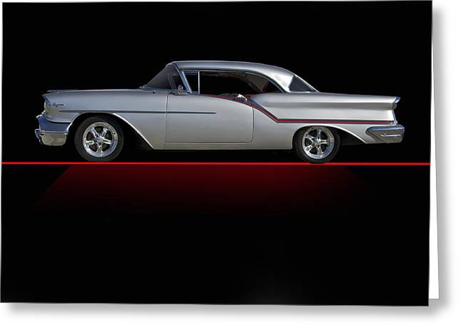 Slam Photographs Greeting Cards - 1957 Custom Oldsmobile on Blk Greeting Card by Dave Koontz