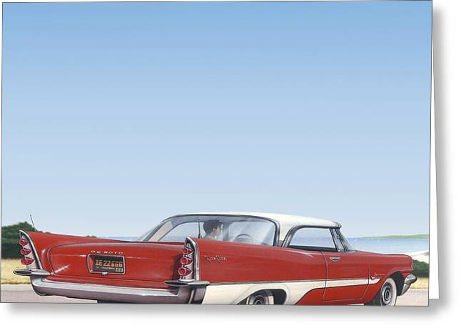 Historical Images Paintings Greeting Cards - 1957 De Soto - Square Format Image Picture Greeting Card by Walt Curlee