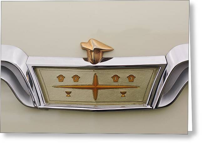 Pebble Beach Car Show Greeting Cards - 1957 DeSoto Adventurer Emblem Greeting Card by Jill Reger