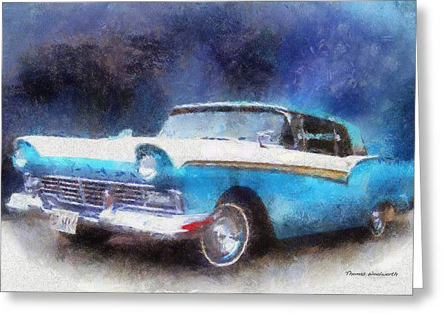1957 Ford Classic Car Photo Art 02 Greeting Card by Thomas Woolworth