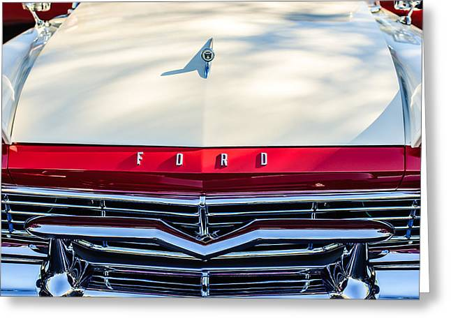 Ford Custom Greeting Cards - 1957 Ford Custom 300 Series Ranchero Grille Emblem Greeting Card by Jill Reger